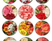 garden flowers 2.5 inch circle round images Vintage Printable Tags Background Digital Collage Sheet scrapbooking Download and Print