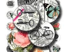 vintage circles 1 inch round images Printable Download Digital Collage Sheet diy jewelry pendant sticker map bike bird rose key uprint