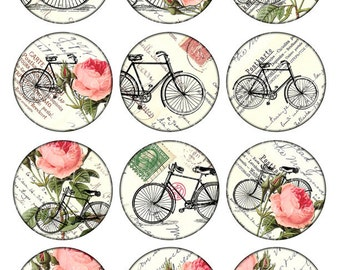 bikes and roses Vintage Printable Tags Digital Collage Sheet large circle images round 2.5 inch background Download and Print