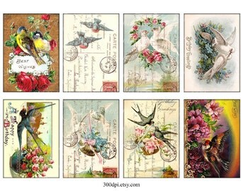 2.5 x 3.5 inch atc aceo card hang gift tag birds roses postcard post card printable download vintage antique digital collage sheet