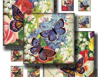 1 x 1 inch square images Printable Download Digital Collage Sheet diy jewelry pendant sticker magnet vintage flowers butterfly
