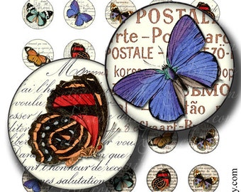 butterflies circles 1 inch round images Printable Download Digital Collage Sheet diy jewelry pendant scrapbooking