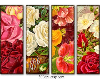 flowers 1 x 3 inch tiles microscope slide images Printable Download Digital Collage Sheet rectangle pendant necklace altered art jewelry