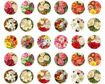victorian flowers 1 inch round images Printable Download Digital Collage Sheet 1 inch circle diy jewelry scrapbooking card making