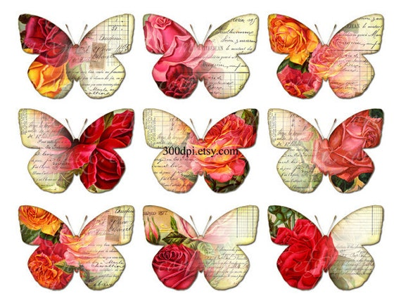 vintage butterflies clipart clip art Printable Download Digital Collage Sheet wings rose wall art decor png image transfer fabric tag