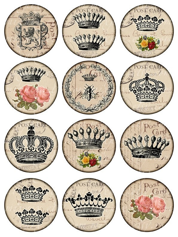 Crowns vintage printable tags digital collage sheet large for Classic house labels