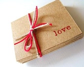 Love Note Cards Flat Mini (Tiny) Kraft Valentine Cards 25 Pieces Made To Order
