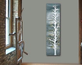 L'HiVER original abstract modern painting - gallery fine art - contemporary interior design - ooak home wall decor - white winter tree