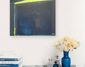 "SALE - Abstract Acrylic Original Painting 10"" x 10"" by Linnea Heide - geometric minimal olympian blue aqua green"