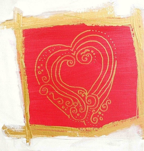 HEART OF GLASS original abstract modern painting - gallery fine art - contemporary interior design - ooak home wall decor - red, gold