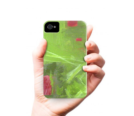 iPhone 5 case - red green - abstract painting - modern art - rose garden - phone case cover - iPhone 5 4 4s 3g Case