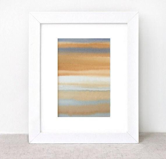 original abstract watercolor painting - gallery fine art - modern contemporary interior design - ooak home wall decor - rust indigo grey