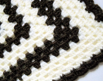 Doll Blanket -  Crocheted Granny Square Baby Doll Bedding - Cat or Dog Bed - Chocolate Brown and Cream