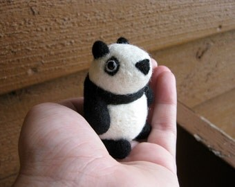 Panda Miniature - Needle Felted Animal Figurine - Soft Sculpture