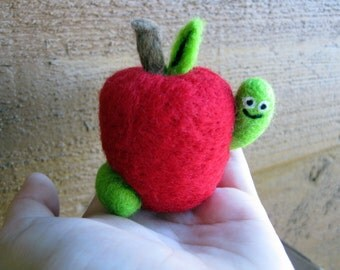 Worm in Apple - Needle Felted Soft Sculpture