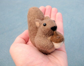 Squirrel Miniature - Needle Felted Animal - Soft Sculpture