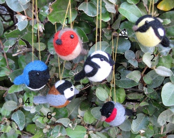 Bird Ornaments -Christmas Ornaments - Felted Animal Ornaments - Choose 3