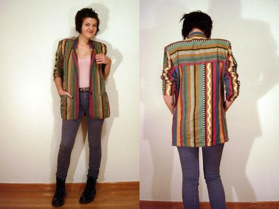80s Multicolored Native American Pattern Slouchy Blazer