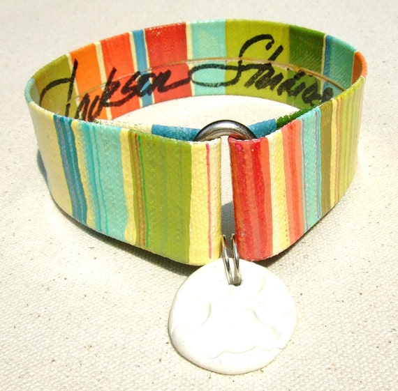 50% OFF IN STOCK Ready To Ship   Pet Collar Oil Cloth Seaside 1 inch Multi Color Stripe