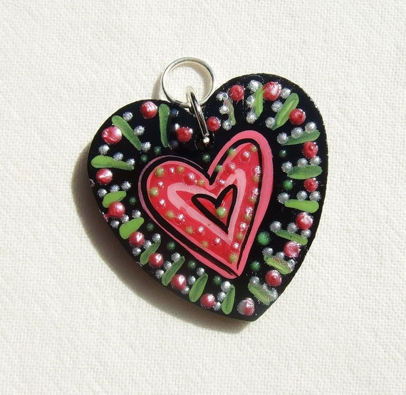 heart pendant wooden wood hand painted black green red large custom request jewelry
