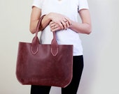 Hand Stitched Leather Tote, Gretchen, Burgundy - Free US Shipping