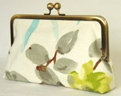 Clutch Purse - Handbag - Kisslock - 8 inch - Chinese Painting - Floral - Berry - Leave - Linen - Silk - Chartreuse - Teal - Ink - Bag