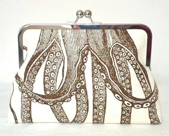 Clutch Purse - Handbag - Octopus - Crab - Kisslock - 8 inch - Oceania - Marine Biology - Sealife - Brown - Ivory
