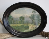 Vintage Art, Farm Country in Oval Frame, Cottage
