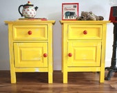 Yellow Set of Two Bedside Tables