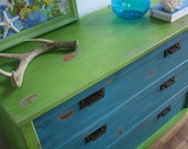 RESERVED FOR WHITNEY Turquoise and Green Distressed Dresser / Changing Table / Console