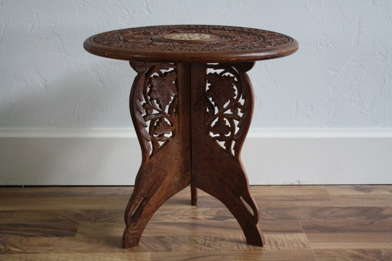 1960's Beautiful Wooden Hand Carved Table with Center Circle Inlay