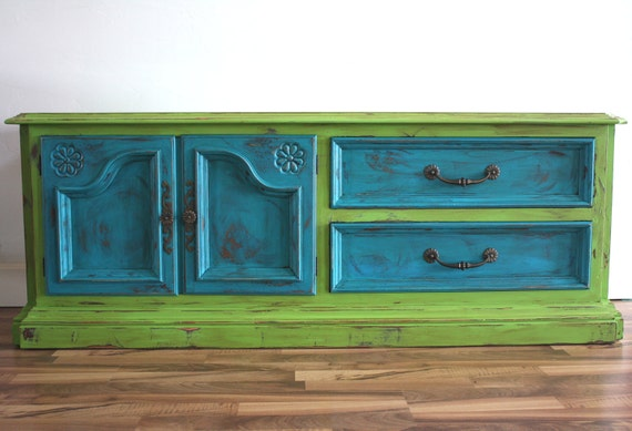 RESERVED FOR TIFFANY Credenza or Dresser or Console in Teal and Rosemary Green, Distressed with Tons of Charm