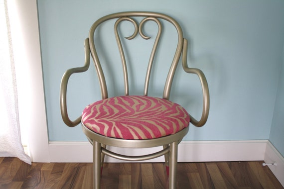 Vintage Thonet Style Bent Wood Arm Chair, Champagne and Pink Zebra