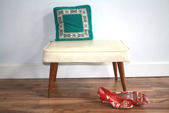 Mid Century Modern Vintage Creme Foot Stool or Bench