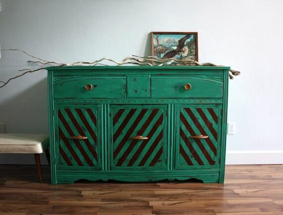 Vintage Art Deco Emerald Green Buffet Dresser Console