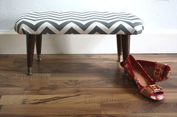 Mid Century Modern Foot Stool recovered in Gray and White Chevron