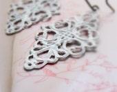 Earrings, Filigree White Lace, Bridal Earrings, Diamond, Vintage Style, Handmade Pink Copper Ear Wires.