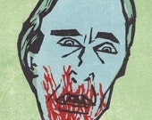 Dracula woodcut with blood