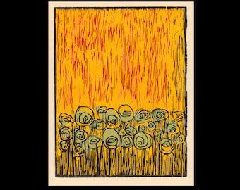 Jazz Flowers woodcut print