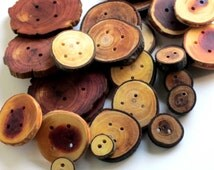 Variety Pack 30 handmade wooden buttons cute wood natural wood dyed wood coat button knitwear branch slice buttens limb tree bark large oak