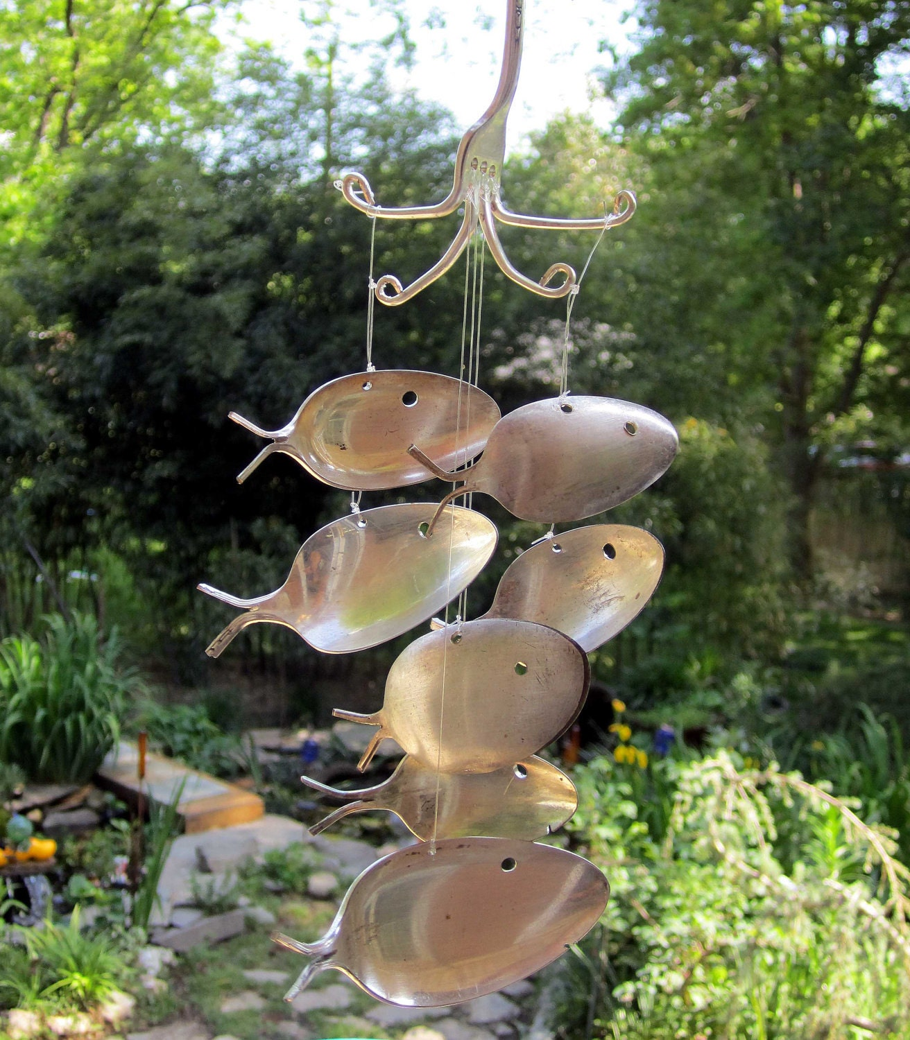 Large wind chime seven silver plated spoon fish by nevastarr for Fish wind chimes