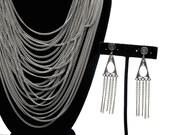 Marvelous Multi-strand Vintage Silver Tone Necklace and Clip Earrings Set, Unique Set