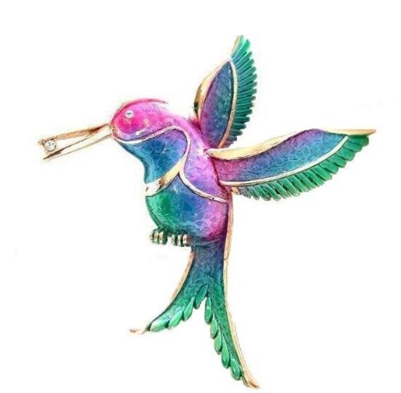 Vintage Hummingbird Brooch Bright Colors