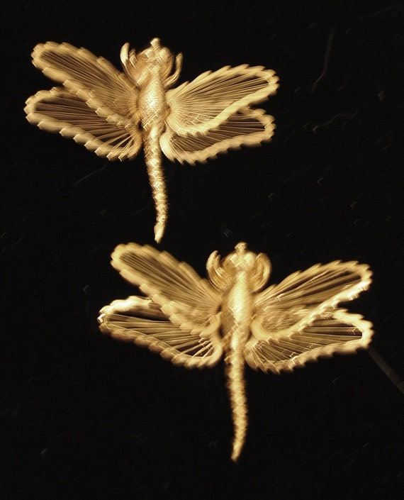 Pair MONET Vintage Dragonfly Brooches