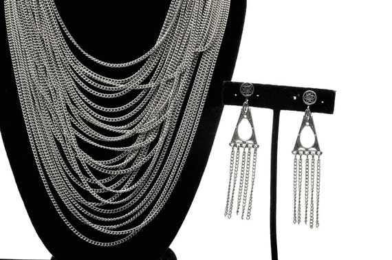 Marvelous Multi-strand Vintage Silver Tone Necklace and Clip Earrings Set, Unique Set