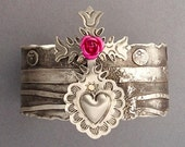 Milagro Pink Rose Sterling Textured Cuff