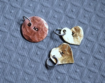 Hand-Stamped, Personalized Brass Heart or Copper Circle Charm