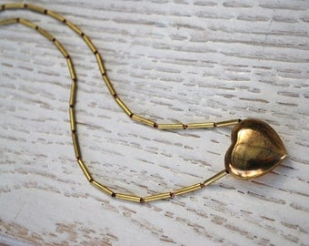 Vintage Brass Heart Necklace