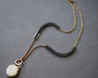 Fishscale Necklace...White Turqouise and Brass Assemblage