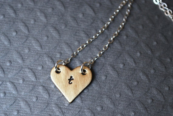 Delilah....Hand-Stamped Personalized Brass Heart, Sterling Silver Necklace
